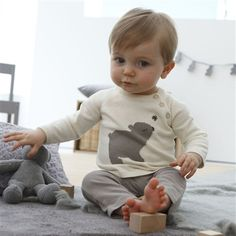 Baby Boy's Cotton Sweater and Leggings Outfit Pack of ecru and taupe