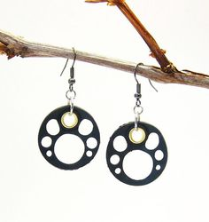 Upcycled Black Rubber Inner Tube  Earrings / Upcycle Jewellery / Recycled Jewelry / Eco Freindly Jewelry via Etsy