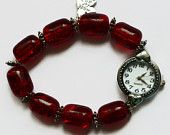 Red bracelet watch, beaded fashion round face angel charm watch, UK shop