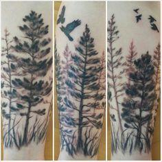 Pine trees and crows. #forearm #tattoo #freshink