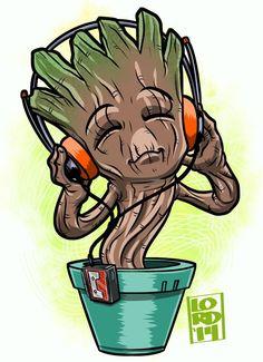 Chibi Groovin Baby Groot by Lord Mesa Marvel Avengers, Chibi Marvel, Marvel Art, Marvel Dc Comics, Marvel Heroes, Marvel Characters, Marvel Drawings, Cartoon Drawings, Lord Mesa Art