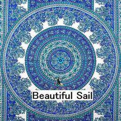 ブルー スクエア エスニック インテリアファブリック 布 ビーチマット ビーチラグ モロッコ-Beautiful Sail-日本未入荷ファッションセレクトショップ