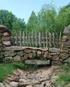 Stacked stone and rustic fencing