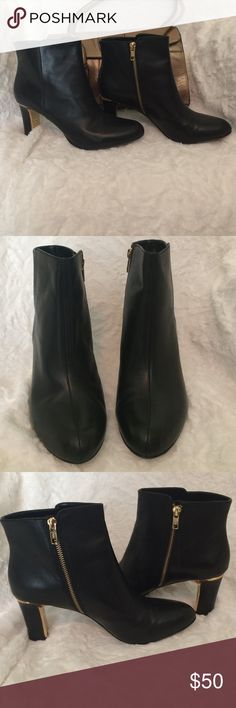 """Anne Klein Booties The AK7 Star is a truly stunning black learher bootie with a gold accented 3"""" heel and gold zipper and  a leather sole. Worn once. Anne Klein Shoes Ankle Boots & Booties"""