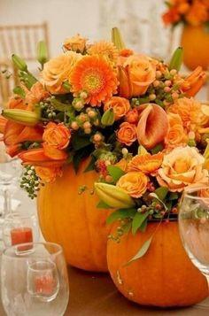 Fall themed pumpkin centrepieces