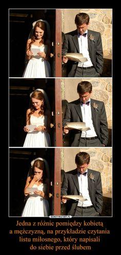 Jedna z różnic pomiędzy kobietą a mężczyzną, na przykładzie czytania listu miłosnego, który napisali do siebie przed ślubem –