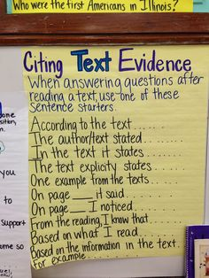 Citing text evidence chart, image only. 8th Grade Ela, 5th Grade Writing, 5th Grade Reading, Third Grade, Fourth Grade, 8th Grade Science, Sixth Grade, Ela Anchor Charts, Reading Anchor Charts