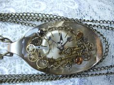 Steampunk spoon necklace OOAK steampunk by Charsfavoritethings