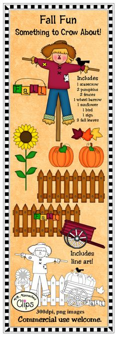 Fall Fun!  Commercial use welcome. $ http://www.teacherspayteachers.com/Product/Clip-Art-Something-to-Crow-About-764384