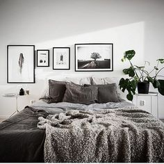 Room redo: Minimalist Scandinavian apartment Bedroom - - I love the simplicity of this gray Swedish bedroom inspiration. Scandinavian Apartment, Scandinavian Bedroom, Minimalist Scandinavian, White Bedroom Furniture, Bedroom Decor, Bedroom Ideas, Bedroom Designs, Bedroom Inspiration, Cozy Bedroom