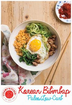 Korean Bibimbap Recipe that's Paleo friendly and low carb. Guess what secret ingredient replaces the rice? ~ http://steamykitchen.com