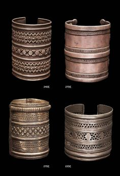 Afghanistan | Four bracelets; silver. | Prices ranging from 220 - 270£.