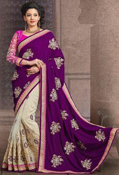 Opulent Off White and Raisin Saree