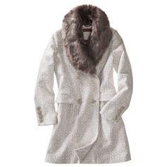 Merona® Women's Double Breasted Coat w/Fur Collar -Ivory