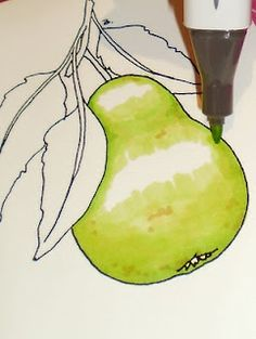 Beccy's Place: Technique Class - Colouring with Copics - Pear tutorial