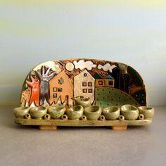 Ceramic Menorah , Israel houses Hanukkah menorah , Hanukkah gift , Handmade Judaica , Hanukkah decoration , Jewish gift , Jewish art חנוכייה