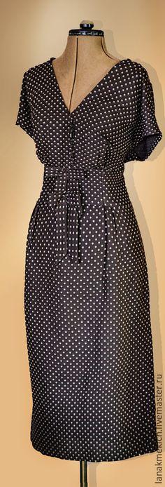 """Купить Винтажное платье в горошек """"Retro for you"""" - коричневый, в горошек, винтажное платье"""