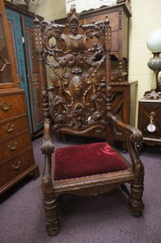 Antique Spanish Throne Chair Conquistador High Back Royal Velvet Seat Carved