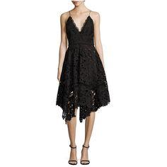 Nicholas Azalia Lace Handkerchief Dress ($695) ❤ liked on Polyvore featuring dresses, black, midi, zip back dress, mid calf dresses, mid calf cocktail dresses, lace plunge dress and handkerchief dress