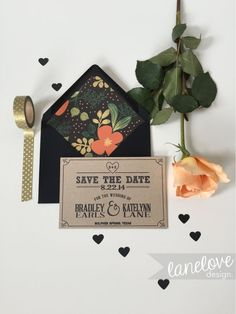 Kraft Paper Wedding Save the Date Card Modern di LaneLoveDesign