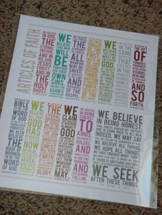 8x10 LDS Articles of Faith. $4.00, via Etsy.