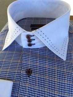 Axxess White Blue Brown Houndstooth High Collar Shirt