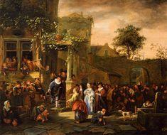 A Village Wedding - Jan Steen. 1653. Oil on canvas. 64 x 81 cm. Museum Boijmans van Beuningen, Rotterdam, Netherlands.