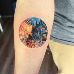 Classical Art-Inspired Tattoos (Café Terrace At Night, Vincent Van Gogh)