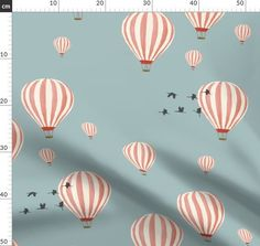 Hot Air Balloons over the Safari (on blu custom fabric by melarmstrong for sale on Spoonflower Minky Fabric, Satin Fabric, Custom Fabric, Polyester Satin, Surface Pattern Design, Hot Air Balloon, Decorative Items, Spoonflower, Cotton Canvas
