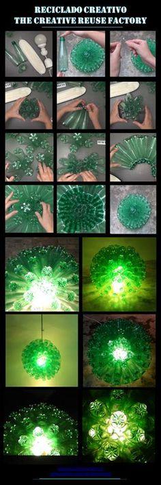 Cómo realizar paso a paso una lámpara con forma de esfera reciclando 125 botellas de plástico – Lamp made with recycled plastic bottles