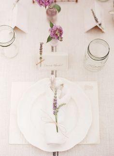 linen, lavender, mason jars