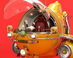 This project started as an excuse to learn Maya. Retro Rocket, Vintage Space, Space Cat, Science Fiction Art, Tin Toys, Submarines, Space Exploration, Christmas Deco, Cinema 4d