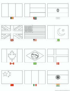 Country Flags Coloring Pages One Click Print