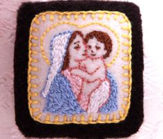 Embroidered Brown Scapular: Tiny Mother and Child Scapular with Roses of Sharon