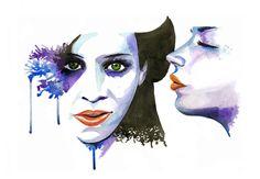watercolor faces - Google Search
