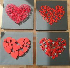 Love art for the bedroom - make Valentine& Day gifts yourself valentines day day day cards day crafts day food day ideas geschenk spruch Valentines Day Decorations, Valentine Day Crafts, Be My Valentine, Diy And Crafts, Crafts For Kids, Arts And Crafts, Paper Crafts, Valentines Bricolage, Art Diy