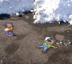 Snow - Street art by David Zinn