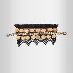 'Lace' Black Bracelet W/ Lace, Textile & Coins by @Klaidra. www.yfos.eu