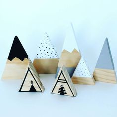 This set of three mountains comes wrapped and ready to gift in a box. The set includes:  ✖ 1 snow capped mountain with dipped base ✖ 1 dipped top mountain ✖ 1 dotted mountain  Each set is unique and may vary slightly from image but all pieces are made to a high standard. They are all cut, sanded and painted by hand with non toxic paints.  Mountains vary in height from approx 8 to 18cm.  If you are purchasing for a loved one, please just leave a note at checkout with what you would like the…