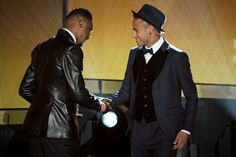 FIFA Ballon d'Or nominee Neymar Jr of Brazil and FC Barcelona (R) shakes hands with Samuel Eto'o during the FIFA Ballon d'Or Gala 2015 at the Kongresshaus on January 11, 2016 in Zurich, Switzerland.