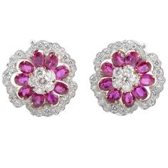 Van Cleef & Arpels Ruby Diamond Platinum Camellia Earrings | From a unique collection of vintage more earrings at https://www.1stdibs.com/jewelry/earrings/more-earrings/
