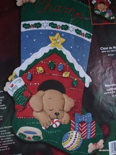 Powered by APG vNext Trial - Todos los Foros Felt Christmas Stockings, Christmas Stocking Pattern, Felt Stocking, Stocking Tree, Felt Christmas Ornaments, Christmas Sewing, Christmas Crafts, Christmas Decorations, Christmas Puppy