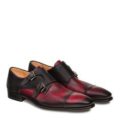Mezlan Bardem Men's Shoes Burgundy & Black Calfskin Leather Loafers Material: Hand Burnished Two-Toned Italian Calfskin Hardware: Silver Color: Burgundy / Black Outer Sole: Leather Sole With Rubber Inserts Insole: Injected Memory Foam Cushio Trendy Mens Suits, Burgundy Shoes, Double Monk Strap, Desert Boots, Men S Shoes, Leather Loafers, Dress Shoes, Men Dress, Mens Fashion