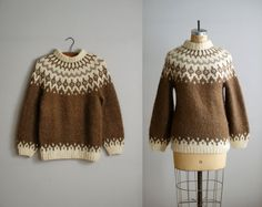 fair isle sweater / 1950s wool Icelandic knit by VacationVintage