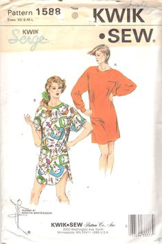 Kwik Sew 1588 1980s Misses Pullover Nightshirt Pattern by mbchills