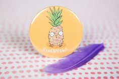 Pineappowl  Choose from a pin badge, key ring, magnet or pocket mirror  All four things measure 55mm in diameter  Check out the rest of our shop for more like this - katieabeydesign.etsy.com  Considering buying several badges? Firstly, you sir are a legend. Secondly - use this listing and get some discount :) https://www.etsy.com/uk/listing/266610040/any-3-badge-products-pick-and-mix-choose?ref=shop_home_active_1