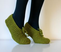 Wool Slippers in moss green for women hand knit warm by balticfrog, $17.50