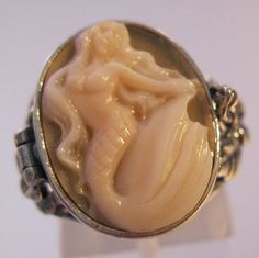 $119.00 Mermaid Cameo Poison Locket Ring Sterling Silver Hand Carved Shell Sz 7.5 Signed Vintage Jewelry Jewellery FREE SHIPPING by BrightEyesTreasures on Etsy