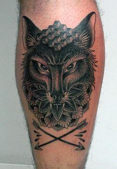 wolf & arrows #calf #tattoos