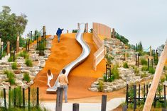 Rosebud Foreshore Park is a challenging adventure playground on Port Phillip Bay. Park Playground, Playground Design, Outdoor Playground, Cool Playgrounds, Natural Playground, Modern Playground, Landscape Architecture Design, Parking Design, Urban Landscape